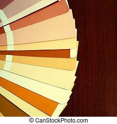 abertos, pantone, amostra, cores, catálogo, ligado, madeira,...