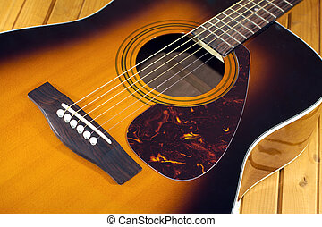 Acoustic guitar top with six string - Fragment of six...