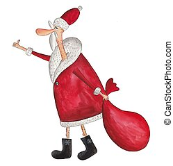 Santa Claus hitch-hiker - Artistic work. Watercolors on...