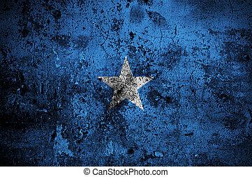 grunge flag of Somalia with capital in Mogadishu