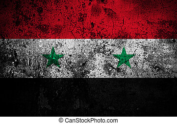 grunge flag of Syria with capital in Damascus