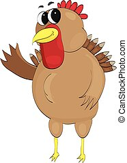 happy turkey waving - Chubby, happy, waving vector turkey...