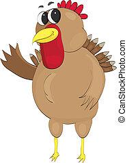 happy turkey waving - Chubby, happy, waving vector turkey...