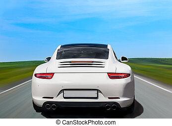 自動車, 白, 背中, 贅沢