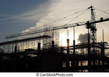 construction crane - The construction crane on sunset