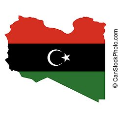 Libya Flag - Flag of the State of Libya overlaid on outline...