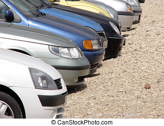 Parked cars - Telephoto view of parked cars in parking lot