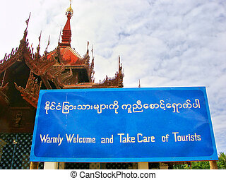 Welcome tourist sign in Mingun, Mandalay, Myanmar - Welcome...