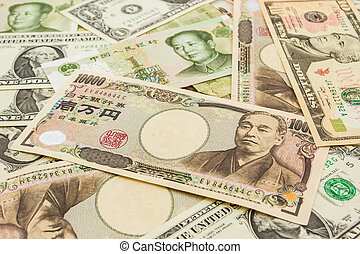 Colorful of World banknotes background,dollar,Japanese...