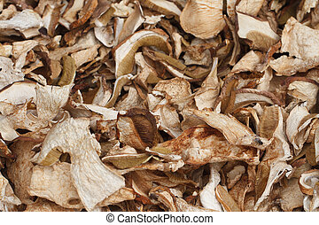 Background of dried sliced ceps. close up
