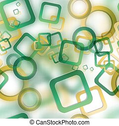 Abstract seamless pattern with blurred circles and squares