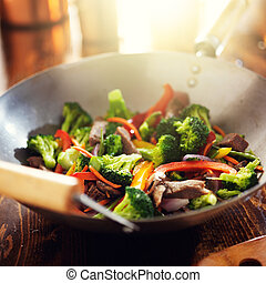 asian wok with beef and vegetable stir fry