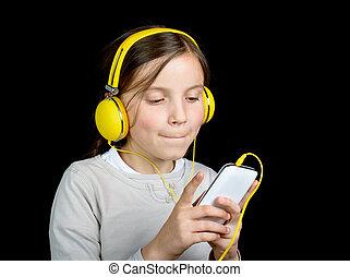 hermoso,  walkman, joven, Música, Escuchar, niña