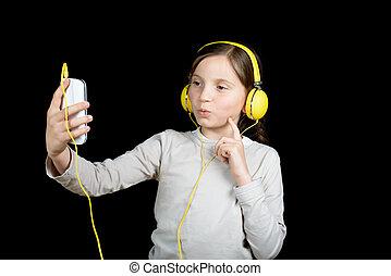 Un, hermoso, joven, niña, Escuchar, a, Música,...