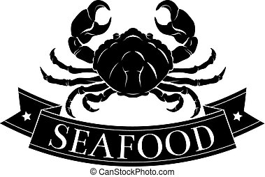 Seafood crab icon - Crab or seafood food icon of a crab and...