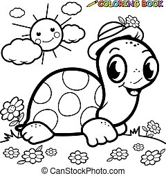 Coloring book turtle in grass - Black and white outline...