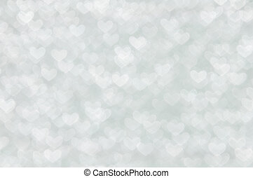defocused abstract white hearts light background - white...