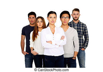 Group of a young people standing over white background