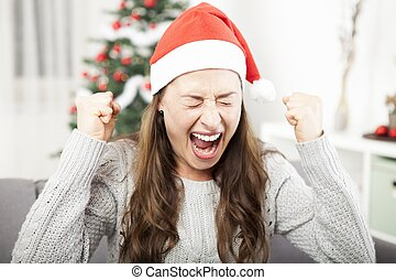young girl is frustrated about christmas - young girl is sad...