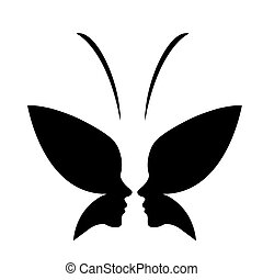 Face of a lady and butterfly- logo concept for spa or beauty...