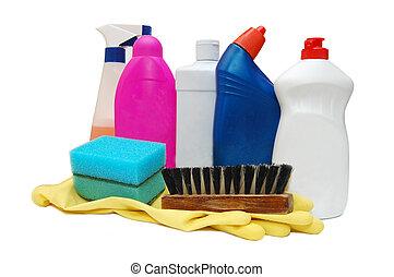plastic detergent bottles reflected on white background