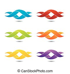 Twisted ribbon- abstract logo in different colors
