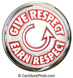 dar, Para, ganhar, respeito, palavras, branca, botão,...