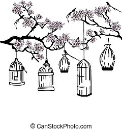 garden with feeders - flowering garden with a bird cage