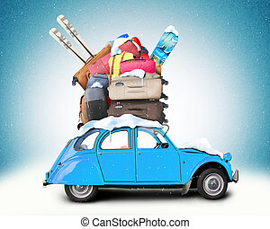 Winter travel, Retro car with Luggage on the roof