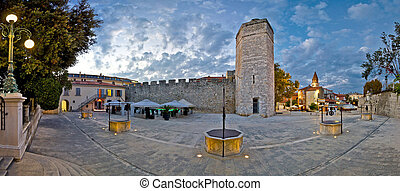 Town of Zadar square evening view