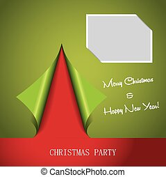 Christmas party poster - Christmas tree formed from curled...