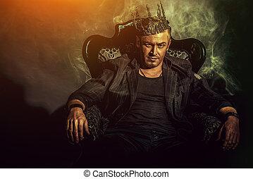king man - Portrait of a masculine handsome man in elegant...