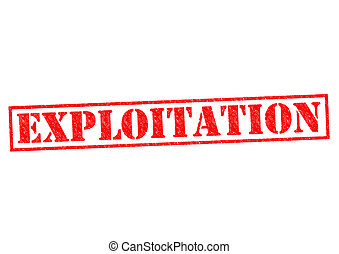 EXPLOITATION red Rubber Stamp over a white background