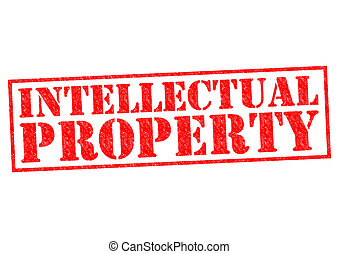 INTELLECTUAL PROPERTY red Rubber Stamp over a white...