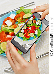 pictures of food - girl taking pictures of fresh salad