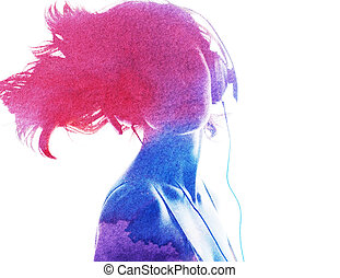 watercolor silhouette of a beautiful girl