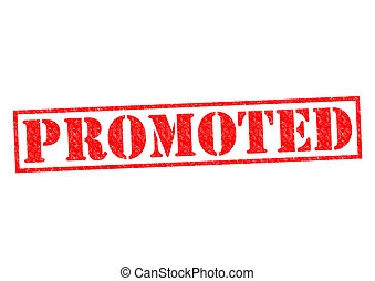 PROMOTED red Rubber Stamp over a white background