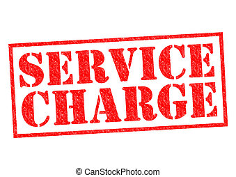 SERVICE CHARGE red Rubber stamp over a white background.