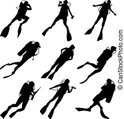 Set silhouettes of divers. - Set of vector silhouettes scuba...