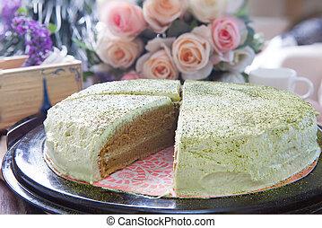 cierre, Arriba, grande, Libra, de, verde, té, pastel,...