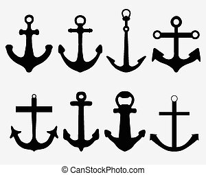 anchors - Black silhouettes of different anchors, vector