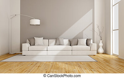 Minimalist lounge with white sofa - 3D rendering