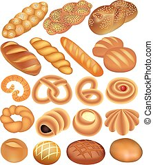 set of bread wheat on white - illustration of a set of bread...
