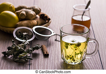 Still life with tea. Natural herbal tea with mentha, honey...