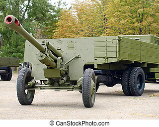 Soviet 76mm cannon gan ZiS3 and army truck ZiS5,Ural -...