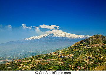 Etna, depuis, les, ville, Castelmola,