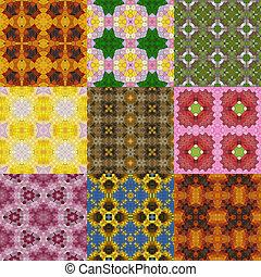 Set of glass mosaic kaleidoscopic seamless generated...