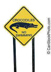 crocodile warning sign at park in georgia