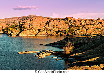 Willow Lake at Sunset - scenic willow lake prescott arizona...