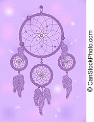 dream catcher 2 - boho style violet dream catcher on violet...